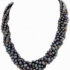 chunky necklace pearl images Stunning black peacock baroque pearl six strand chunky necklace jpg