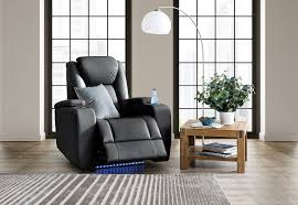 millennia leather look electric recliner amart furniture