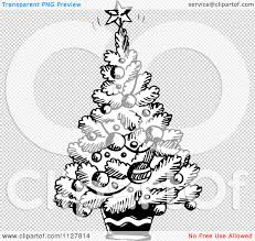 christmas tree black and white clipart no background free