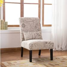 Contemporary Accent Chair Botticelli English Letter Print Fabric Armless Contemporary Accent