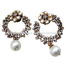 stylish earrings designer pearl drops cz part wedding wear trendy stylish flower