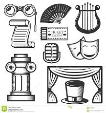 vector set of classic theater isolated icons black and white