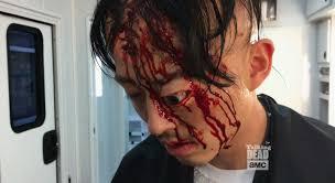 glenn u0027s death makeup on the walking dead popsugar entertainment
