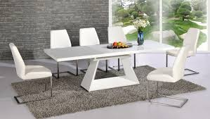Glass Dining Table For 6 Amsterdam White Glass And Gloss Extending Dining Table 6 Within
