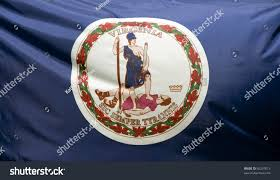 State Flag Of Virginia Closeup Virginia State Flag Waving Wind Stock Photo 60297613