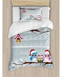 holiday sale christmas decorations twin size duvet cover set owl