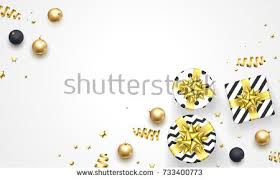new year golden decorations gifts stock vector 733400773