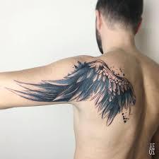 small angel wing tattoos on back watercolor wing by fatih u2014 tattoos on men u2014 pinterest