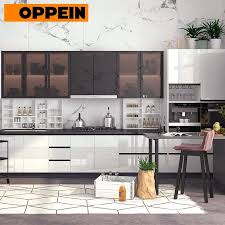 lacquered glass kitchen cabinets oppein 2pac mdf glossy lacquer kitchen cabinets with glass doors