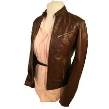 buy biker jacket ladies vintage style biker leather jacket sr01 in chestnut brown or