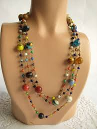 color bead necklace images Multi color glass bead chain necklace vintage renude JPG
