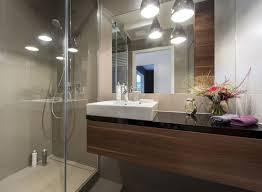 bathroom marble cream wooden vanity shower with glass door black