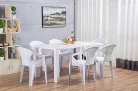 White Plastic Dining Table Pivero High Gloss White Dining Table And 6 White Plastic Verona