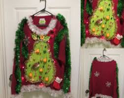 Ugly Christmas Sweater With Lights The Ugly Christmas Sweater Shop By Tackyuglychristmas On Etsy