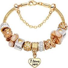 gold bracelet with love heart images Gold love heart bead charm bracelet for christmas birthday jpg