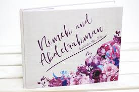 purple guest book a floral wedding guest book time2partay