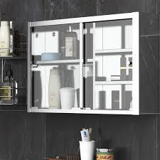 kitchen cabinet sliding doors kleankin 24 x 15 wall mounted bathroom medicine cabinet