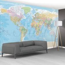 world map feature wallpaper mural 8 piece