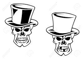 black skull in cartoon style for tattoo design or death concept