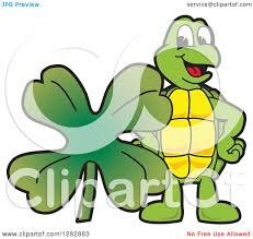 clipart of a happy turtle mascot character with a st
