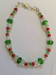 beautiful beaded christmas bracelet red green crystal silver