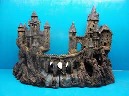 polyresin aquarium ancient castle fish tank ornament painted