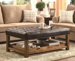 furniture leather brown and tufted upholstered ottoman