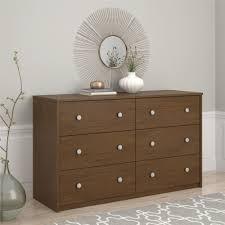 essential home belmont 6 drawer dresser walnut