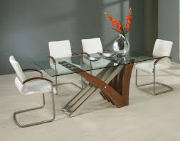 Rectangle Glass Dining Table Set Contemporary Rectangle Glass Dining Table Withtal Combined Brown