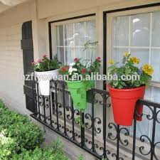 plastic self watering planter balcony flower pot rail plant pot