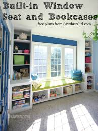 Free Wood Bookcase Plans by Built In Window Seat And Bookcases Free Plans From Sawdustgirl