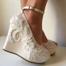 Wedding Shoes Ivory Wedge Shoes Weddbook
