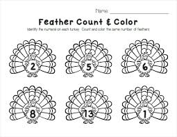 Thanksgiving Lesson Plans For Preschoolers Turkey Feather Count U0026 Color Printable Free Printable Worksheets