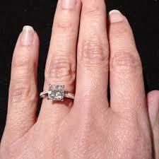 2 carat ring cushion cut moissanite engagement ring unique solitaire 2 carat