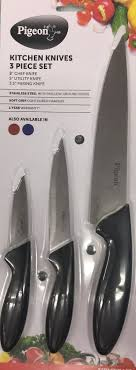 coloured kitchen knives buy pigeon kitchen knives set 3 pieces for just rs 249 00