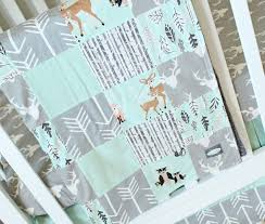 Baby Nursery Bedding Set by Mint Woodlands Crib Bedding Gray Baby Bedding Set Arrows Bears