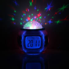 light projection alarm clock led projection baby children digital alarm clock room sky star night