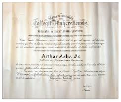 Amherst College by Lot Detail Amherst College Degree Awarded To Arthur Ashe