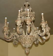 italian baroque style painted pine ten light chandelier for
