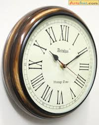 antique look round 12 inch wall clock with thick wooden base for