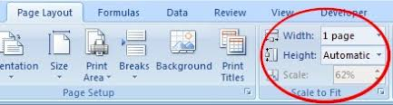 what is the purpose of print scaling in the page layout tab in
