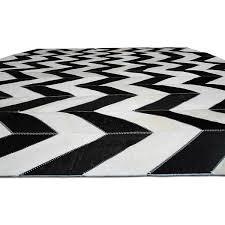 black and white cowhide chevron design shine rugs 77 cad