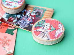 wood slice vintage christmas card magnets mod podge rocks