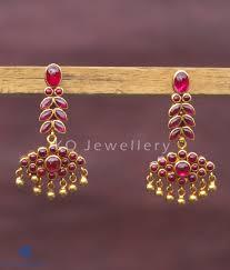 the varsha silver kempu earrings buy temple jewellery online ko