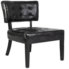 Black Leather Accent Chair Wide Seat Tufted Leather Accent Chair Black Best Choice Products