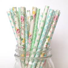 paper straws mint floral paper straws botanical garden