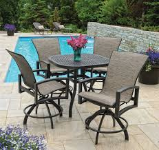 Bar Height Patio Set With Swivel Chairs Bar Height Bistro Patio Set Residence Remodel Photos Image Of