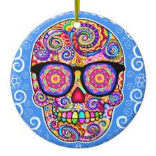 psychedelic skull tree decorations ornaments zazzle
