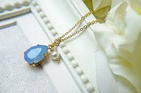 blue opal necklace swarovski crystal air blue opal teardrop pendant necklace in gold