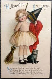 vintage halloween postcard wolf little witch kitten good